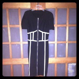 Boohoo Bodycon White Piping Zipper Dress US 6